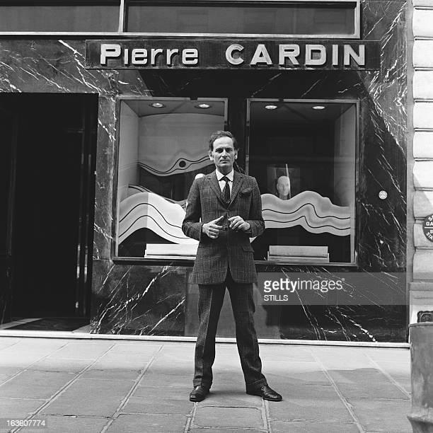 Portrait of French fashion designer Pierre Cardin in front of his shop in London United Kingdom in July 1970