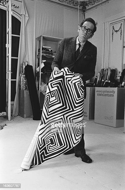 Portrait of French fashion designer Pierre Cardin in his shop in London United Kingdom in July 1970