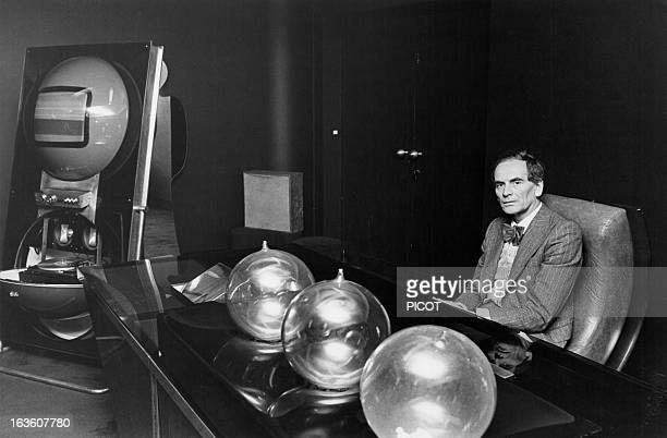 Portrait of French fashion designer Pierre Cardin in the Espace Pierre Cardin in Paris France on February 23 1976