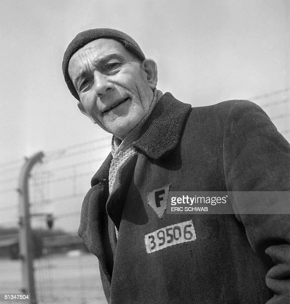 Portrait of French prisoner Henri Teitgen taken in the courtyard of Nazi camp of Buchenwald in April 1945 after its liberation Henri Teitgen...