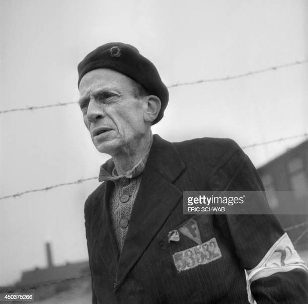 Portrait of French prisoner Remy Roure taken in the courtyard of Nazi camp of Buchenwald in April 1945 after its liberation Remy Roure journalist at...