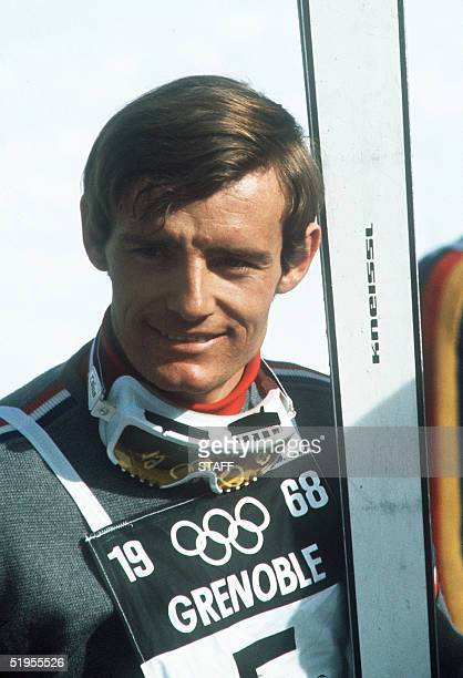 Portrait of French skier JeanClaude Killy taken 17 February 1968 in Chamrousse near Grenoble during the Winter Olympic Games Killy won three gold...