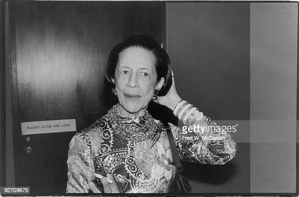 Portrait of Frenchborn American fashion editor Diana Vreeland as she attends the 'American Women of Art' exhibit at the Metropolitan Museum of Art...