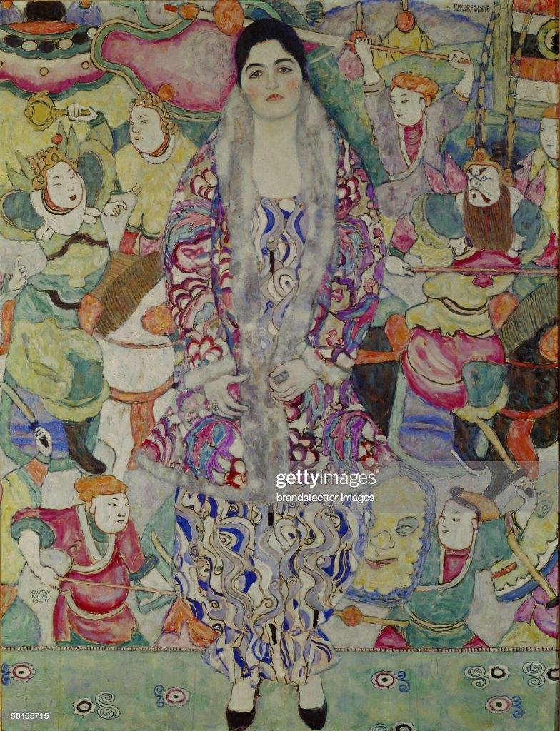 Portrait of Friederike Beer. Oil on Canvas by Gustav Klimt. 1916. (Photo by Imagno/Getty Images) [Bildnis Friederike Beer (in einem Wiener-Werkstaette-Ensemble aus dem Stoff 'Marina' von Dagobert Peche). 168 : 130 cm. D196. oel/Lwd. 1916.]