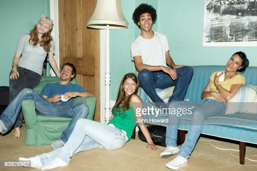 Portrait of friends in home setting : Stock Photo