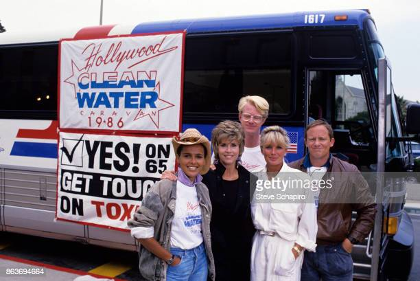 Portrait of from left American actors Shari Belafonte Jane Fonda Ed Begley Jr Linda Evans and Charles Haid as they stand beside the Hollywood Clean...