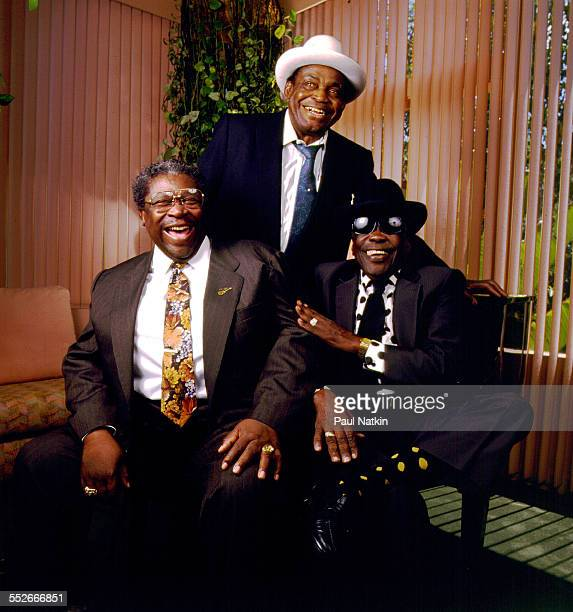 Portrait of from left American Blues musicians BB King Willie Dixon and John Lee Hooker at the Sunset Marquis Hotel Los Angeles California April 2...