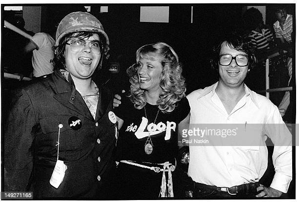 Portrait of from left American disc jockey Steve Dahl model Lorelei Shark and Mike Veeck the son of the Chicago White Sox owner during an antidisco...