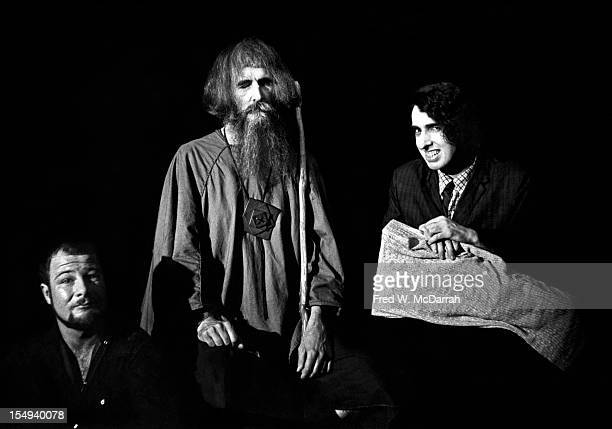 Portrait of from left American poet and social activist Hugh Romney blind musician and inventor Moondog and musician and archivist Tiny Tim as they...
