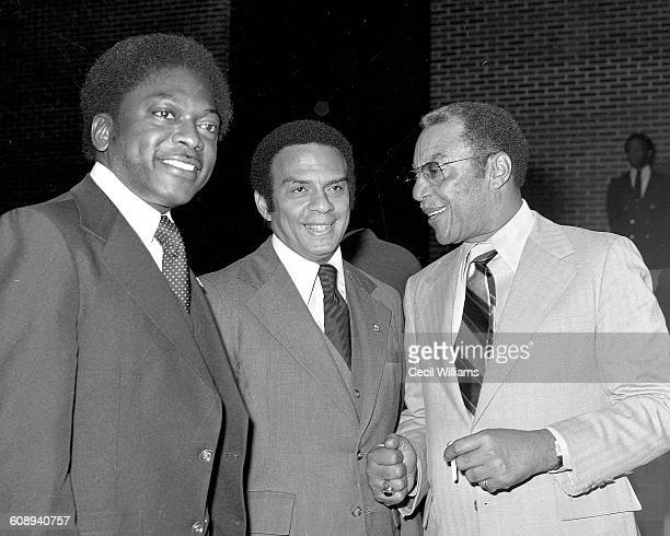 Portrait of from left American politicians South Carolina State Human Affairs Commissioner James Clyburn and US Ambassador to the United Nations...