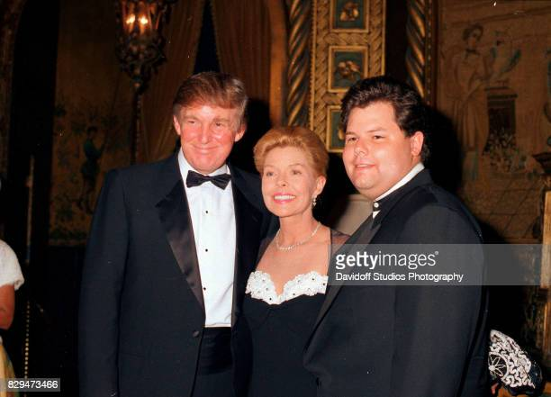 Portrait of from left American real estate developer Donald Trump philanthropist Lois Pope and the latter's son Paul during the official opening...