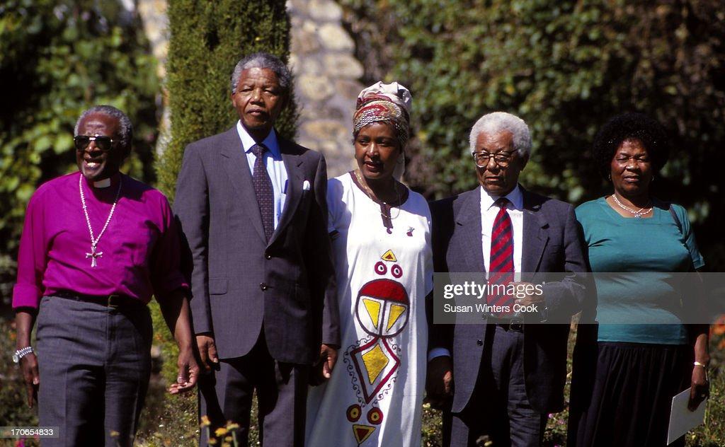 Portrait of from left antiapartheid leaders Archbishop Desmond Tutu Nelson Mandela Winnie Mandela Walter Sisulu and Albertina Sisulu Cape Town South...