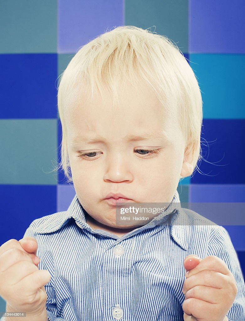Portrait of Frustrated One Year Old Boy : Stock Photo