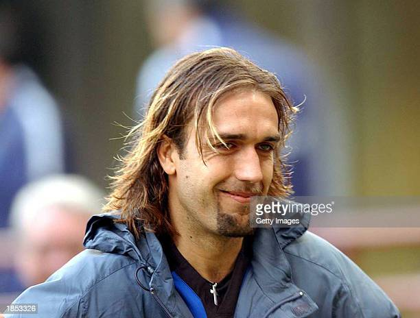 A portrait of Gabriel Batistuta of Inter Milan following the Serie A match between Inter Milan and Como played at the Giuseppe Meazza San Siro...