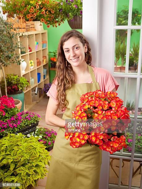 Porträt von Garten-Center, einen Blumenladen Shopkeeper Geschäftsinhaber