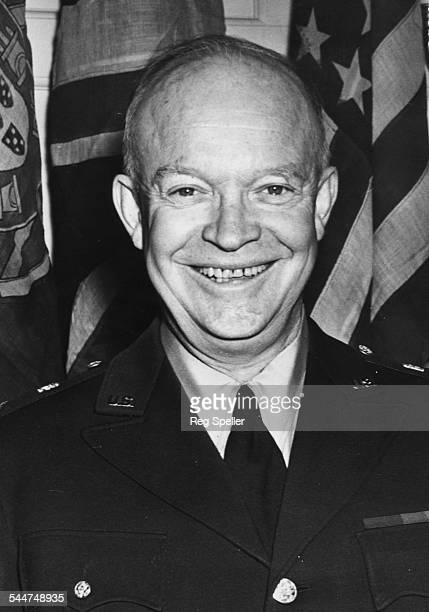Portrait of General Eisenhower smiling as he leaves a meeting at the Deputies Council in London January 16th 1951
