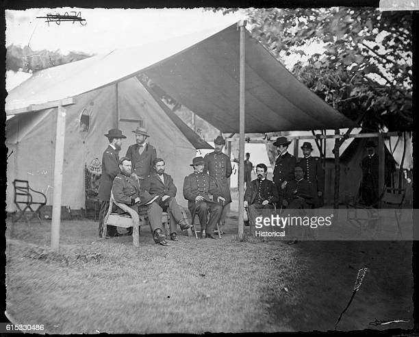 Portrait of General Ulysses Simpson Grant with his staff Pictured are General Grant Colonel Adam Badeau General Cyrus B Comstock Colonel Frederick T...