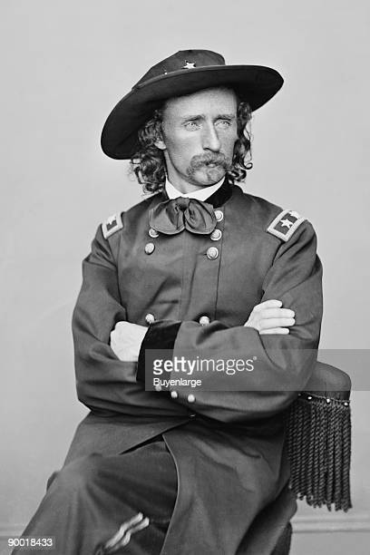A portrait of George Armstrong Custer 18391876 the 'hero' of the Indian campaigns