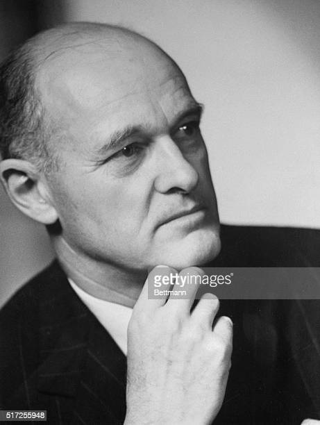 Portrait of George F Kennan Professor of History at Princeton University He is shown in a closeup with his hand under his chin