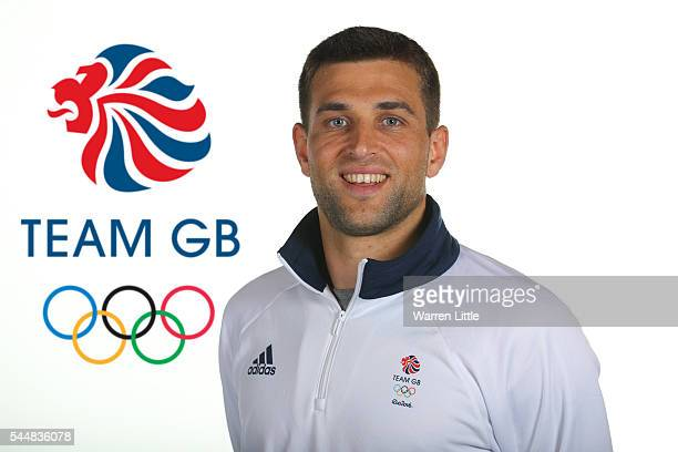 This image has been digitally altered logo added to background A portrait of George Pinner a member of the Great Britain Olympic team during the Team...