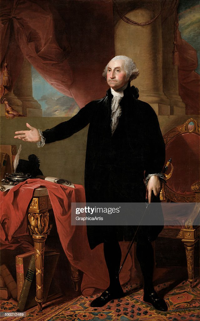 Portrait of <a gi-track='captionPersonalityLinkClicked' href=/galleries/search?phrase=George+Washington&family=editorial&specificpeople=67214 ng-click='$event.stopPropagation()'>George Washington</a> at age 64 renouncing his third term as president, by Gilbert Stuart (American, 1755-1828) (oil on canvas from the White House Collection), 1779. This is a second version of Stuart's iconic Lansdowne portrait.