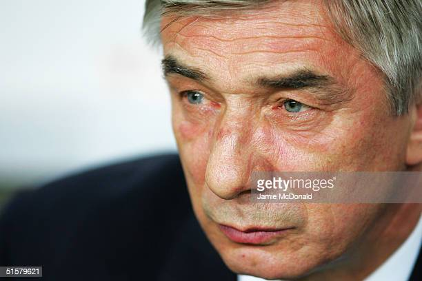 A portrait of Georgi Yartsev coach of Russia prior to the World Cup Group 3 match between Portugal and Russia on October 13 2004 at the Estadio Jose...