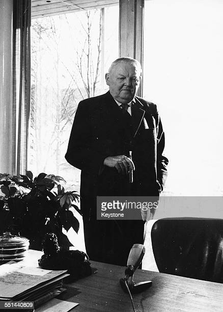 Portrait of German Chancellor Ludwig Erhard in his work room at his private house in Tegernsee Bavaria December 27th 1963