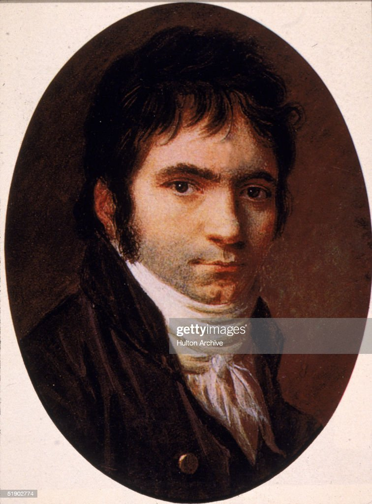 Portrait of German composer <a gi-track='captionPersonalityLinkClicked' href=/galleries/search?phrase=Ludwig+van+Beethoven&family=editorial&specificpeople=67202 ng-click='$event.stopPropagation()'>Ludwig van Beethoven</a> (1770 - 1827), after a painting by Christian Horneman, 1803.