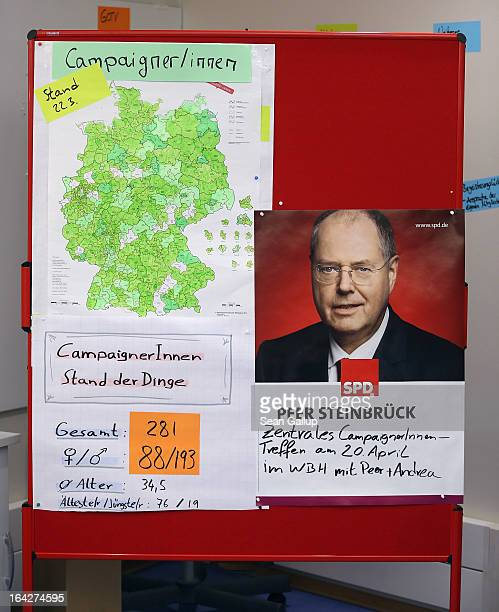 A portrait of German Social Democrats chancellor candidate Peer Steinbrueck hangs next to a map of Germany at SPD election campaign headquarters on...