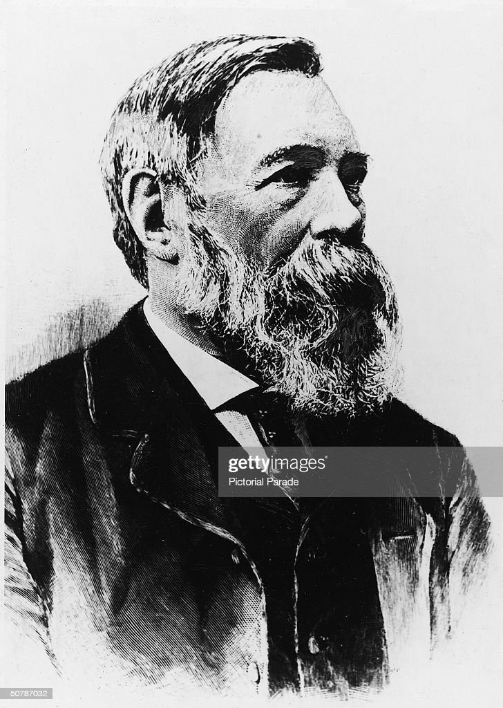 Portrait of German Socialist philosopher and businessman Friedrich Engels who collaborated on the 'Communist Manifesto' with Karl Marx late 19th...