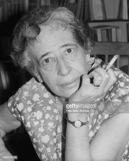 Portrait of Germanborn American political theorist and author Hannah Arendt with a cigarette in her hand 1949