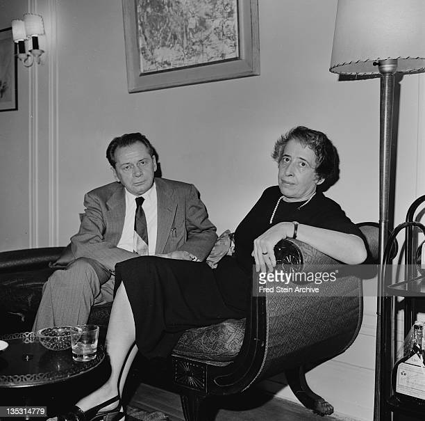 Portrait of Germanborn American political theorist and author Hannah Arendt and her husband poet Heinrich Blucher 1960