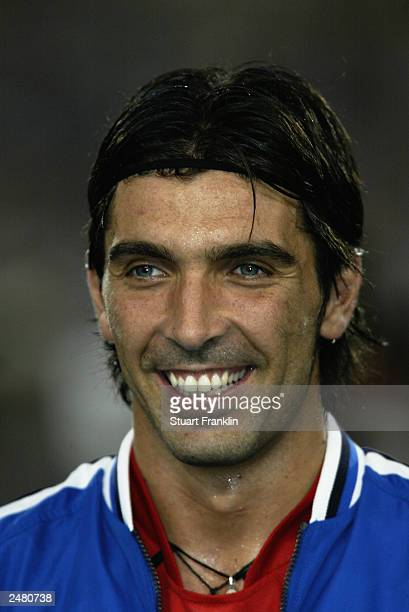 A portrait of Gianluigi Buffon of Italy during the team lineup during the International friendly match between Germany and Italy on August 20 2003 at...