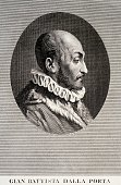 Portrait of Giovanni Battista Della Porta Italian philosopher and alchemist engraving Italy 16th17th century