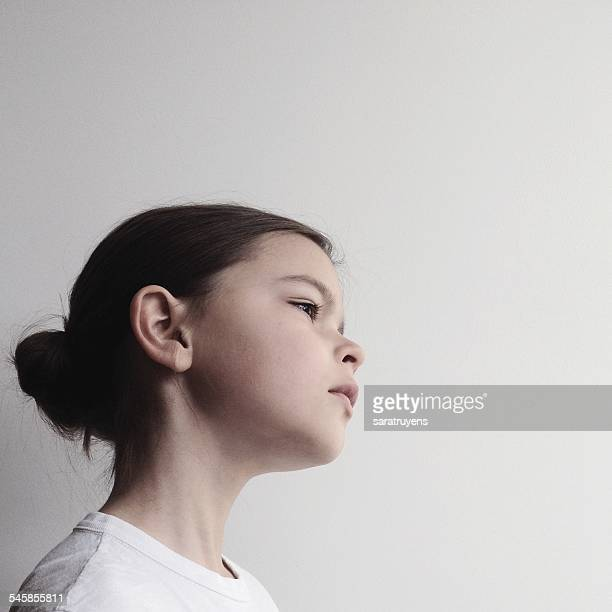 Portrait of girl against white background