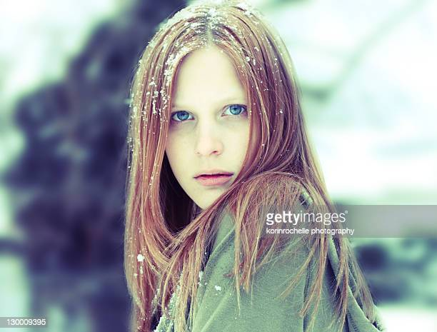 Portrait of girl at winter