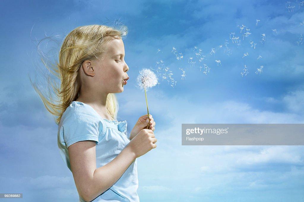 Portrait of girl blowing dandelion clock : Stock Photo