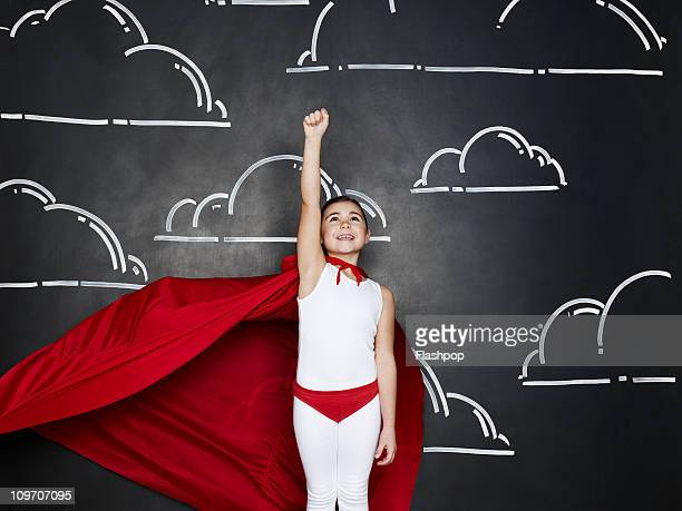 Portrait of girl dressed as a superhero