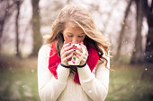 Portrait of Girl Drinking Coffee in the Snow