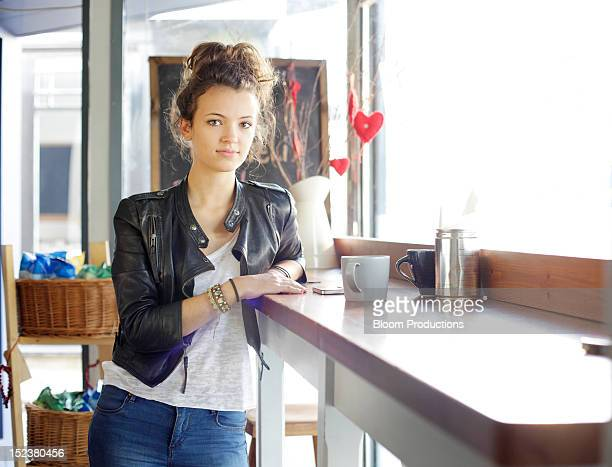 portrait of girl in a cafe