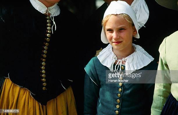 Portrait of girl in pilgrim period clothing.