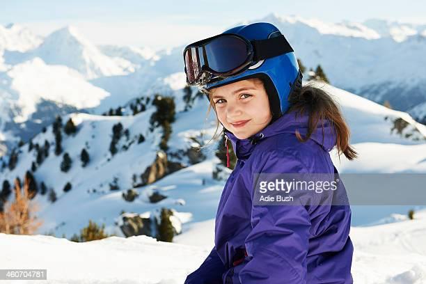 Portrait of girl in ski gear, Les Arcs, Haute-Savoie, France