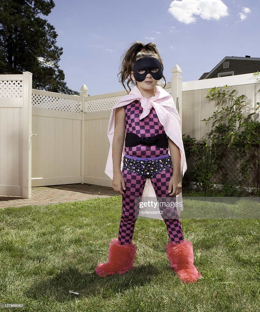portrait of girl in superhero outfit : Stock Photo