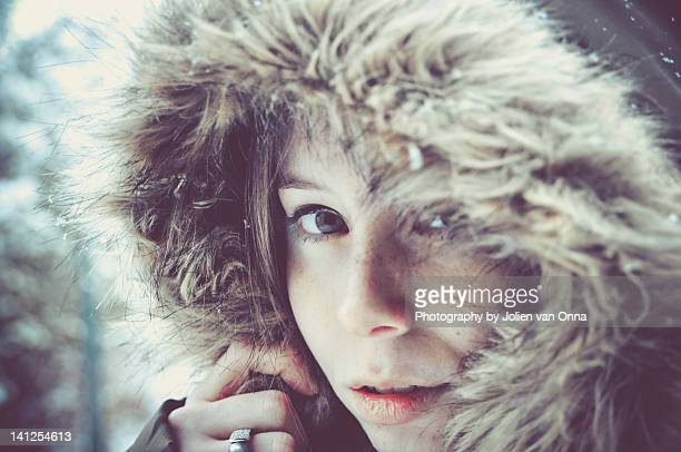 Portrait of girl in winter