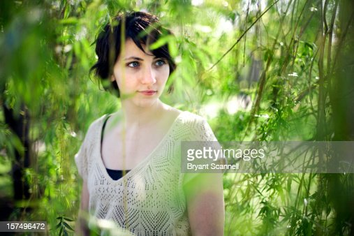 Portrait of Girl Through Leaves : Foto stock