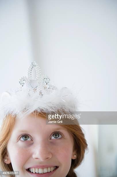 Portrait of girl wearing tiara, Jersey City, New Jersey, USA