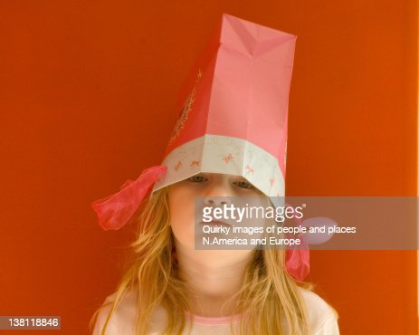 Portrait of girl with bag head