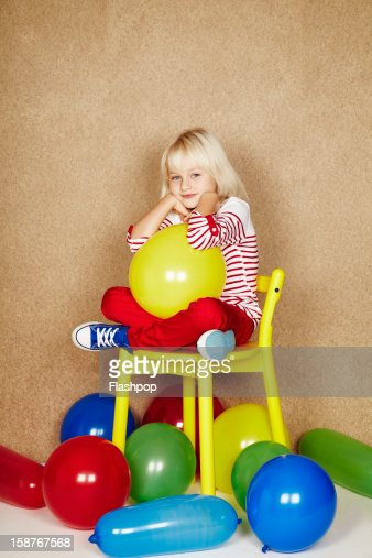 Portrait of girl with balloons : Stock Photo