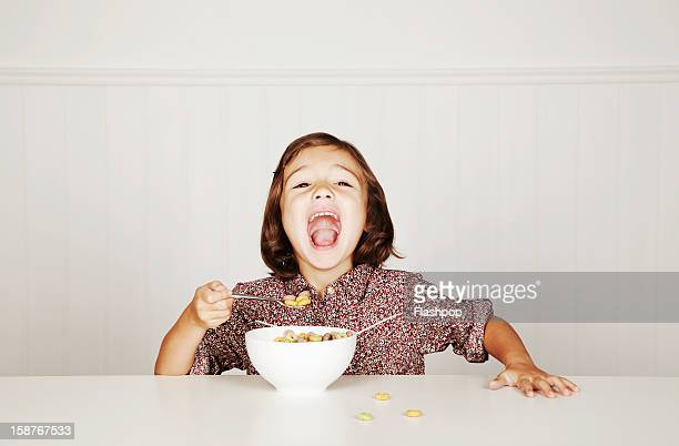 Portrait of girl with cereal