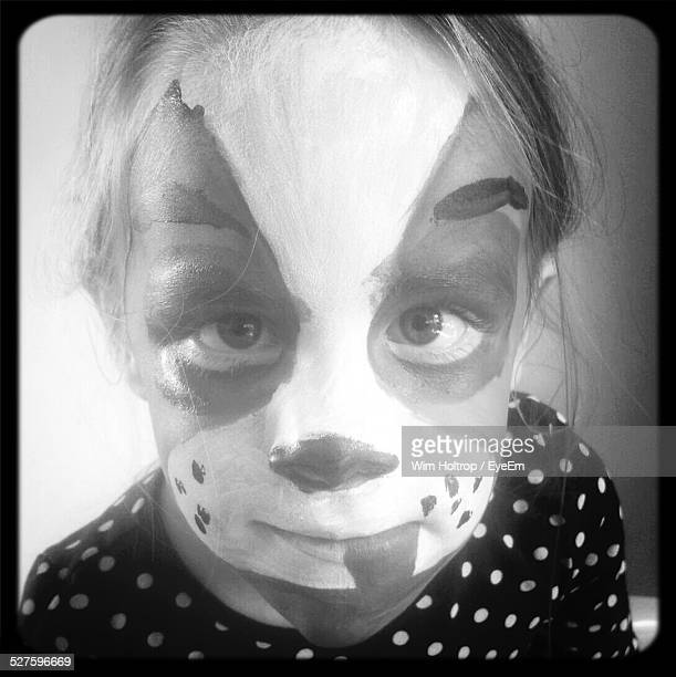 Portrait Of Girl With Dog Face Paint